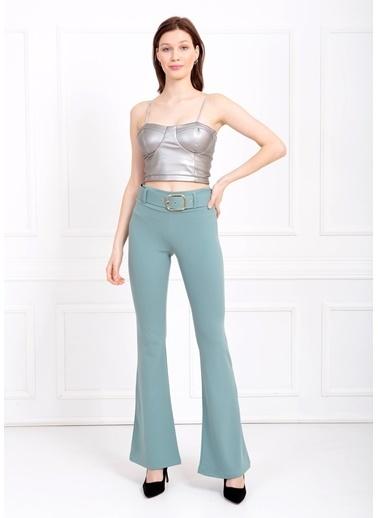 Sense Kemerli Örme Kumaş İspanyol Paça Pantolon Yeşil